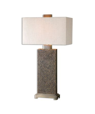 Shown in Coffee Bronze finish, Beige shade and Blackened Brown Pitted Base accent