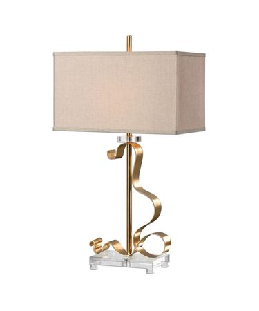 Shown in Bright Gold Leaf-Crystal finish and Rust Beige Linen shade