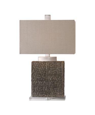 Shown in Taupe Wash-Brushed Nickel finish and Beige Linen Fabric Rectangle Hardback shade