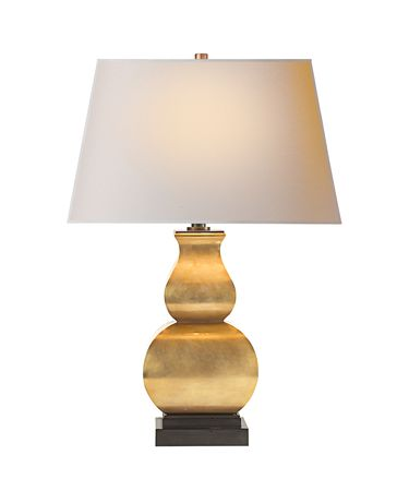 Shown in Antique-Burnished Brass finish and Natural Paper Rectangle shade