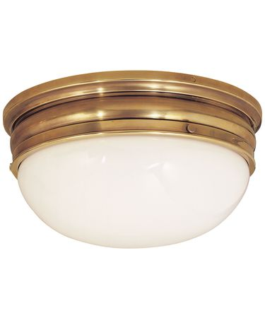 Shown in Antique-Burnished Brass finish and White Glass glass
