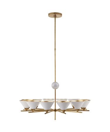 Shown in Antique-Burnished Brass finish and White glass