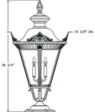 Hanover Lantern B53760 Stockholm Large 4 Light Outdoor Pier Lamp